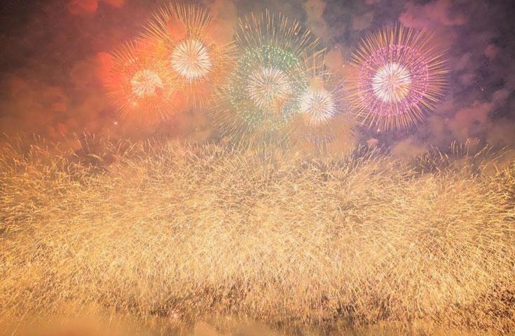 最大打揚げ幅700mのワイドな花火は圧巻の一言
