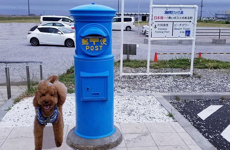 青い空と海をイメージした「青い丸型郵便ポスト」