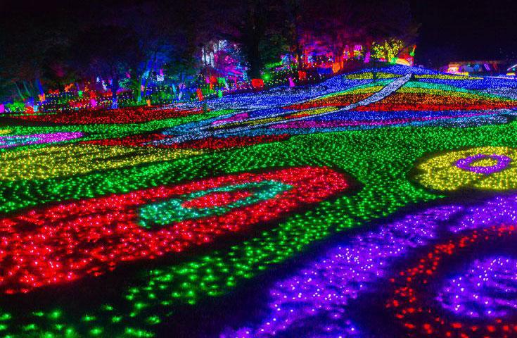 約300万球の電飾で東京ドームおよそ27個分の広さを、余すことなく照らします。