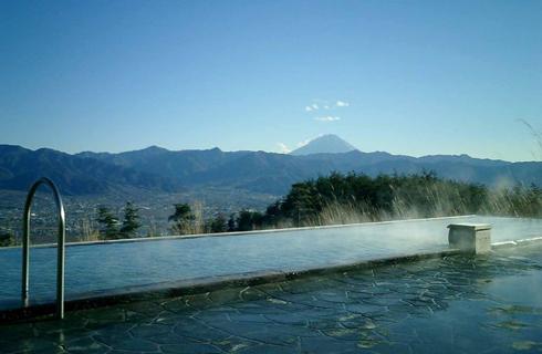 富士山を眺める絶景温泉。