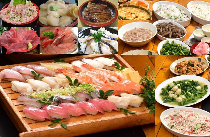 豪華にぎり寿司10種と海鮮丼乗っけ放題
