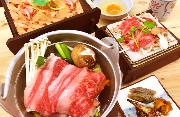 牛肉ごぼうせいろ飯、牛と野菜せいろ蒸し、牛すき焼き風(生卵付)、明太いわし、つぶ貝佃煮、こんにゃくてっ
