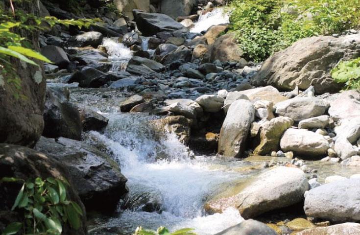 谷川岳から流れ出る清水
