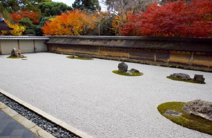 枯山水庭園の代表―龍安寺