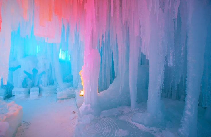 層雲峡氷瀑まつりライトアップ